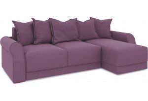 Диван угловой правый «Люксор Т1» (Kolibri Violet (велюр) фиолетовый)