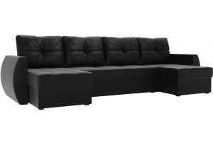 П-образный диван Сатурн Черный (Экокожа)