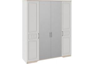 Шкаф для одежды с 2 глухими и 2 зеркальными дверями «Тоскана» (Белый Жемчуг/Гикори Джексон)