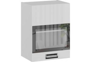 Шкаф навесной со стеклом (правый) (БЬЮТИ (Белая))