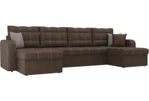 П-образный диван Ливерпуль Коричневый (Рогожка)