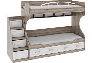 Двухъярусная кровать с лестницей с ящиками «Прованс» Дуб Сонома трюфель/Крем