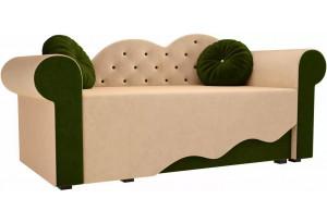 Детская кровать Тедди-2 бежевый/зеленый (Микровельвет)