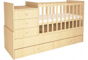 Кроватка-трансформер детская Polini Simple 1000 с комодом