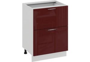 Шкаф напольный с двумя ящиками «Весна» (Белый/Бордо глянец)