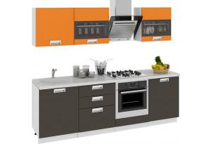 Кухонный гарнитур длиной - 240 см (со шкафом НБ) БЬЮТИ (Оранж)/(Грэй)