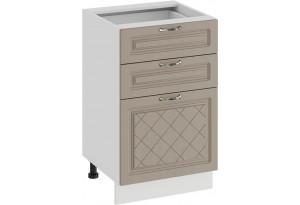 Шкаф напольный с тремя ящиками «Бьянка» (Белый/Дуб кофе)