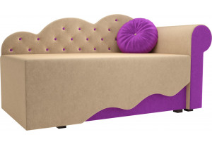 Детская кровать Тедди-1 бежевый/фиолетовый (Микровельвет)