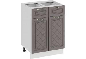 Шкаф напольный с двумя ящиками и двумя дверями «Бьянка» (Белый/Дуб серый)
