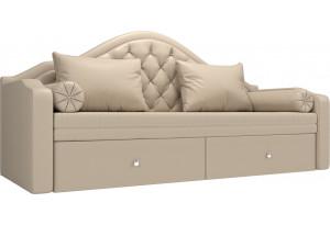 Прямой диван софа Сойер Бежевый (Экокожа)