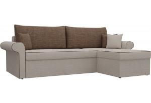 Угловой диван Милфорд бежевый/коричневый (Рогожка)