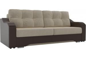 Прямой диван Браун бежевый/коричневый (Микровельвет/Экокожа)