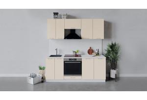 Кухонный гарнитур «Весна» длиной 200 см со шкафом НБ (Белый/Ваниль глянец)