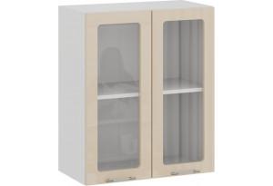 Шкаф навесной c двумя дверями со стеклом «Весна» (Белый/Ваниль глянец)