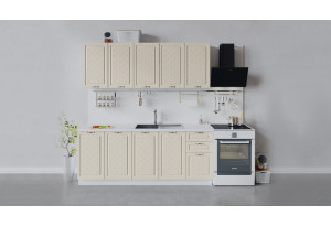 Кухонный гарнитур «Бьянка» длиной 200 см (Белый/Дуб ваниль)
