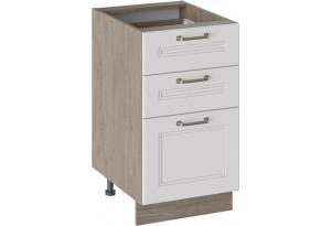Шкаф напольный с 3-мя ящиками (ОДРИ (Белый софт))