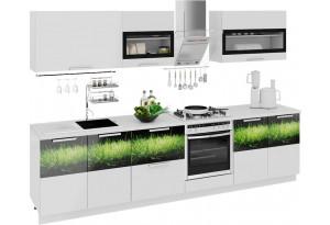 Кухонный гарнитур длиной - 300 см (со шкафом НБ) Фэнтези (Белый универс)/(Грасс)