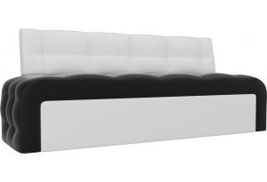 Кухонный прямой диван Люксор Черный/Белый (Экокожа)