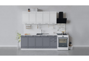 Кухонный гарнитур «Долорес» длиной 200 см (Белый/Сноу/Титан)