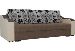 Прямой диван Монако Коричневый/Бежевый (Рогожка/экокожа/флок на рогожке)