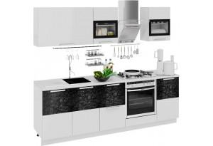 Кухонный гарнитур длиной - 240 см (со шкафом НБ) Фэнтези (Белый универс)/(Лайнс)