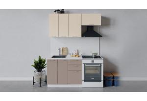 Кухонный гарнитур «Весна» длиной 160 см (Белый/Ваниль глянец/Кофе с молоком)