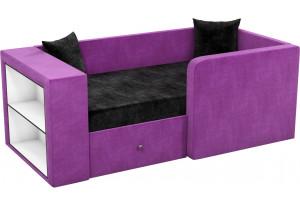 Детский диван Орнелла черный/фиолетовый (Микровельвет)