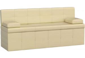 Кухонный прямой диван Лео Бежевый (Экокожа)