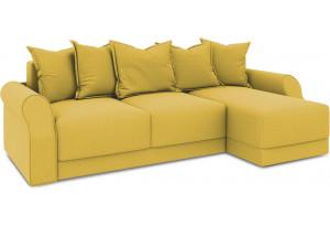 Диван угловой правый «Люксор Т1» (Poseidon Curcuma (иск.замша) желтый)