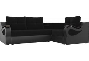 Угловой диван Митчелл черный/черный (Велюр/Экокожа)
