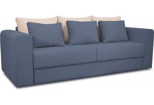 Диван «Вилсон» Maserati 21 (велюр) серо-синий, подушка Miami 01 (рогожка), песочный