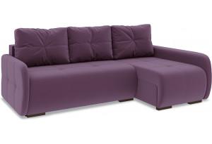 Диван угловой правый «Томас Slim Т2» Kolibri Violet (велюр) фиолетовый