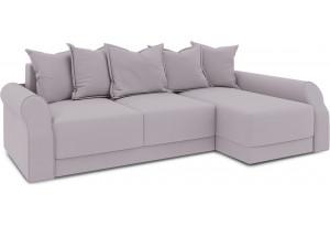 Диван угловой правый «Люксор Т2» (Poseidon Pale Lavender (иск.замша) бледно-лавандовый)