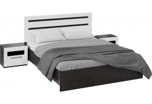 Спальный гарнитур «Фьюжн» стандартный без шкафа (Венге Линум, Белый глянец)