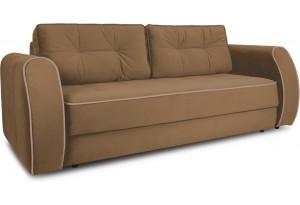 Диван «Хьюго» (Fenix Brown (микровелюр) Коричневый кант Fenix Koriza (микровелюр) Светло - коричневый)