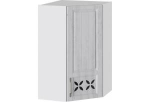 Шкаф навесной угловой c углом 45 с декором (ПРОВАНС (Белый глянец/Санторини светлый))