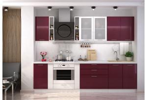 Кухня Ксения 2,9 м (модульная система), бордо/белый глянец