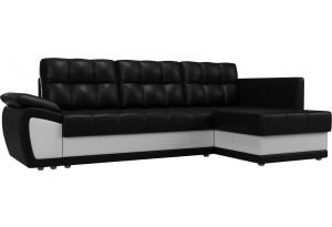 Угловой диван Нэстор прайм Черный/Белый (Экокожа)