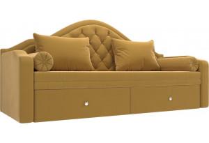 Прямой диван софа Сойер Желтый (Микровельвет)