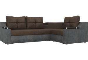 Угловой диван Тесей коричневый/Серый (Рогожка)