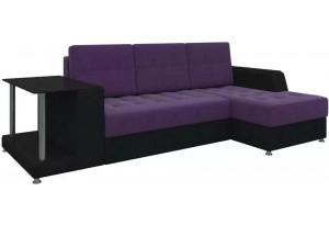 Угловой диван Атланта Фиолетовый/Черный (Микровельвет)
