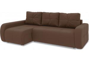 Диван угловой левый «Томас Т2» Beauty 04 (велюр) коричневый