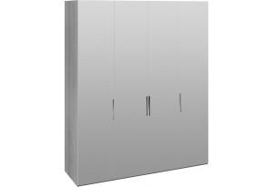 Шкаф комбинированный с 4 зеркальными дверями «Эста» (Дуб Гамильтон/Белый глянец)