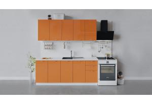 Кухонный гарнитур «Весна» длиной 200 см (Белый/Оранж глянец)