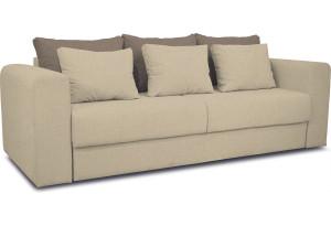 Диван «Вилсон» Neo 02 (рогожка) бежевый, подушка Neo 04 (рогожка) светло-коричневый