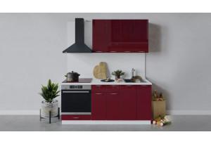 Кухонный гарнитур «Весна» длиной 180 см со шкафом НБ (Белый/Бордо глянец)