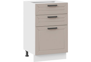 Шкаф напольный с тремя ящиками «Лорас» (Белый/Холст латте)