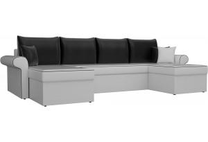 П-образный диван Милфорд Белый/Черный (Экокожа)