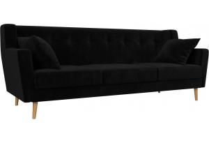 Прямой диван Брайтон 3 Черный (Велюр)