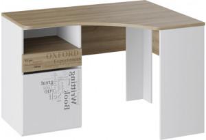 Стол угловой с ящиками «Оксфорд» Ривьера/Белый с рисунком